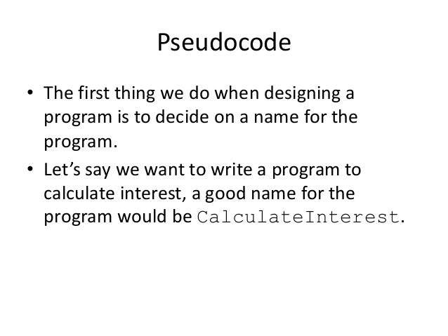 pseudo code definition and example