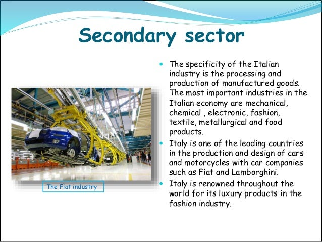 example of secondary economic sector