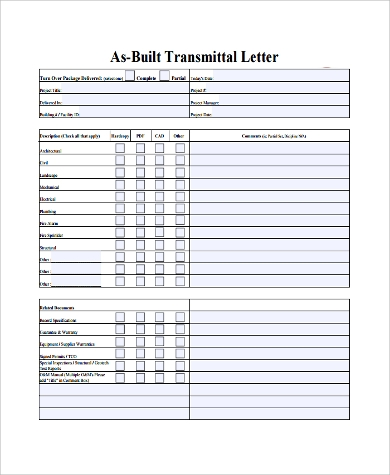 letter of transmittal example construction