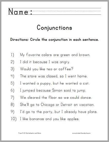 give example of coordinating conjunction