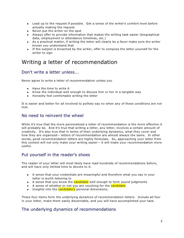 example sentence for recommendation leter