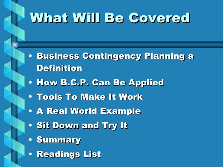 an example of contingency planning