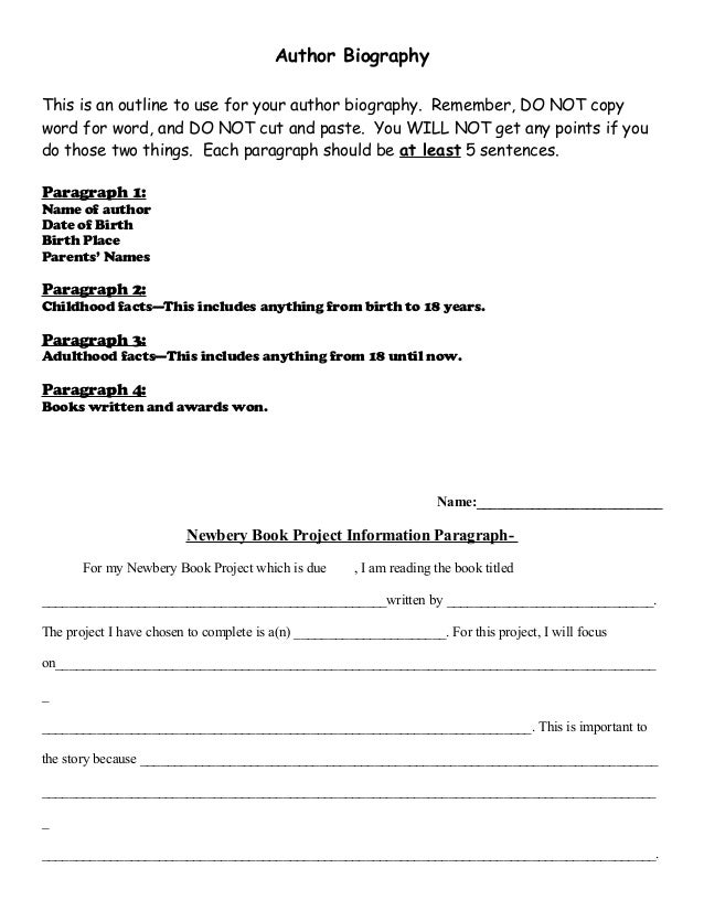 example of teen author biography