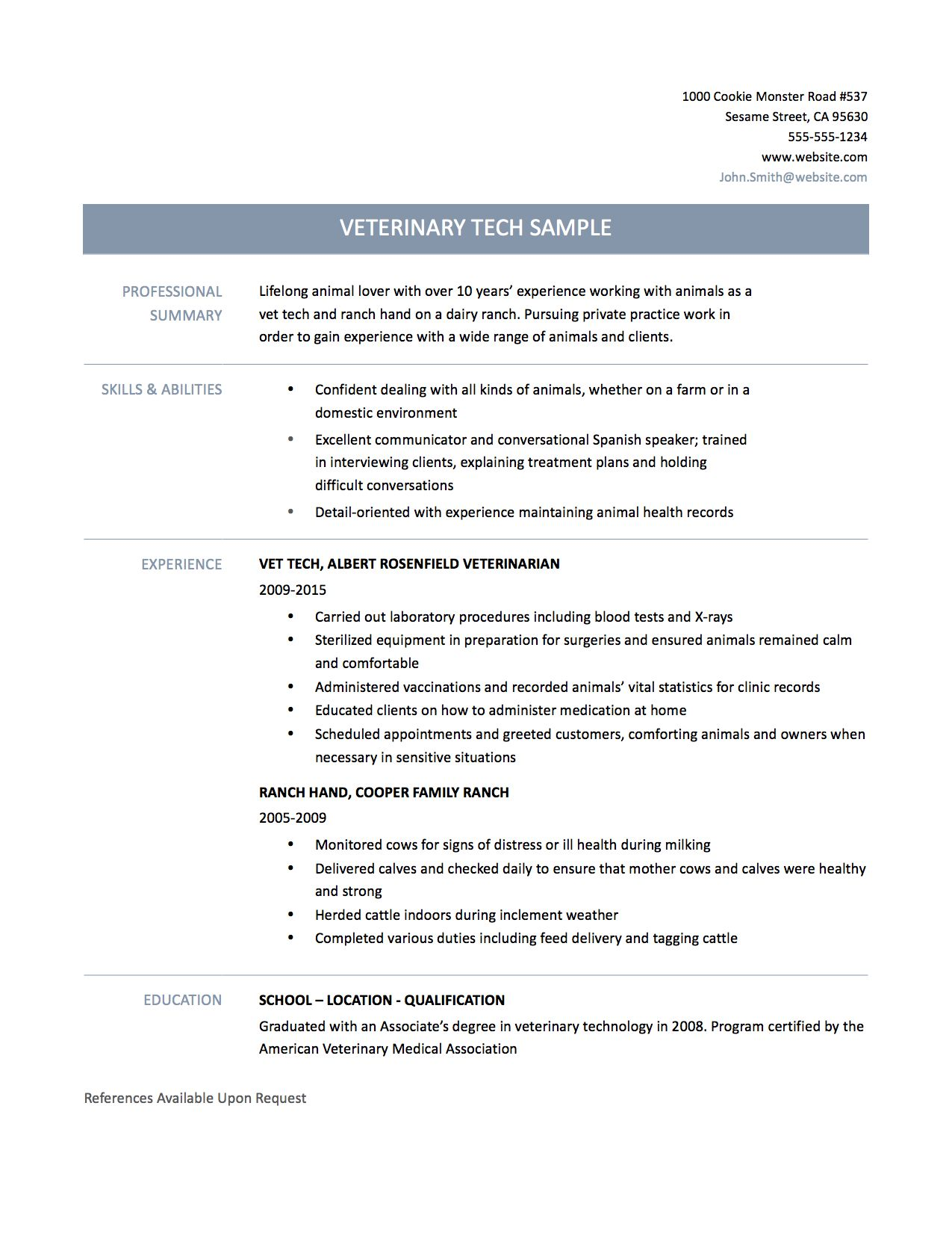 example cover letter for animal job