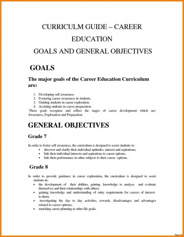 example of job objectives for students
