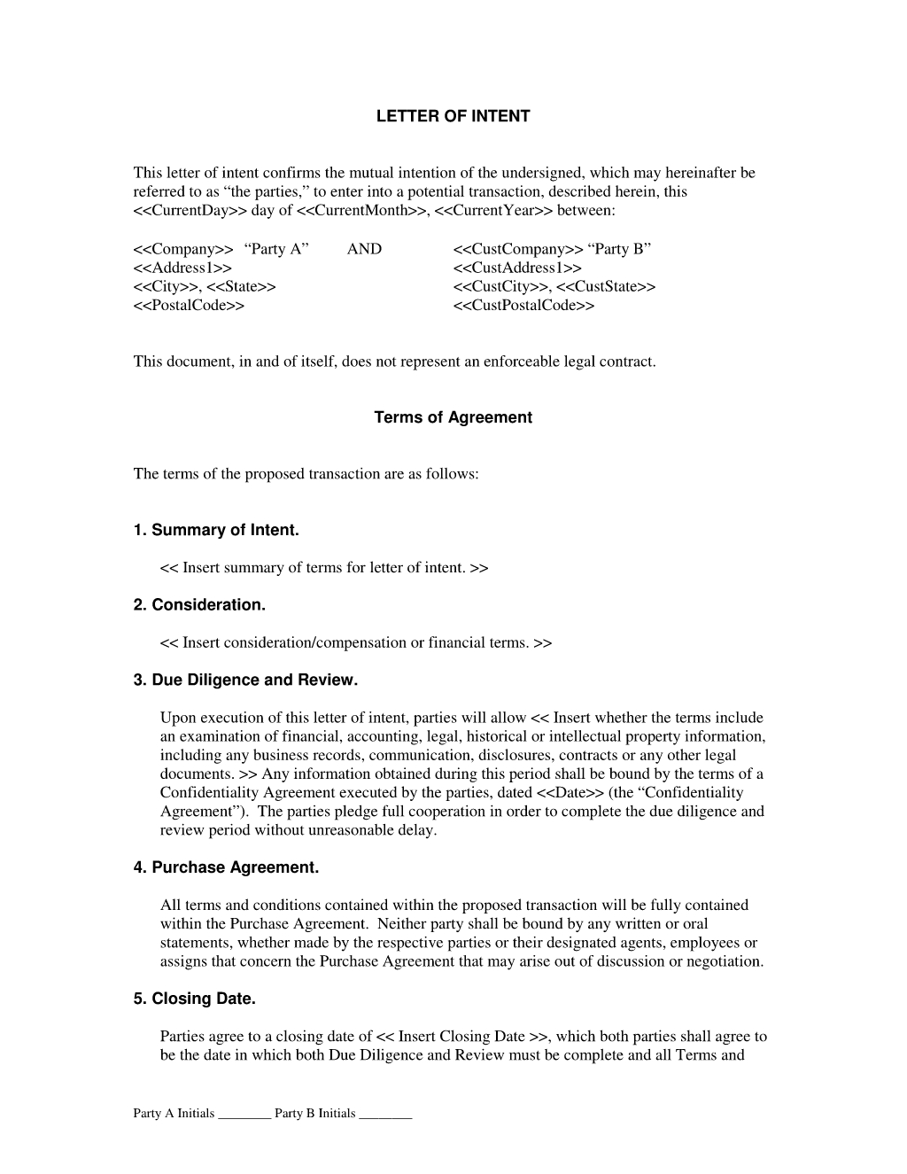 letter of intent example tagalog