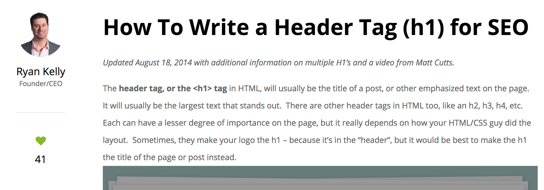 what is a h1 tag example